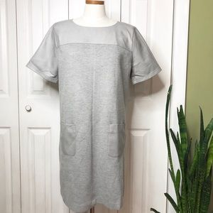 LOFT silver/gray shift dress, faux leather details